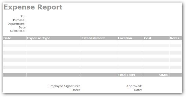 Simple Expense Report Template and Form : Helloalive