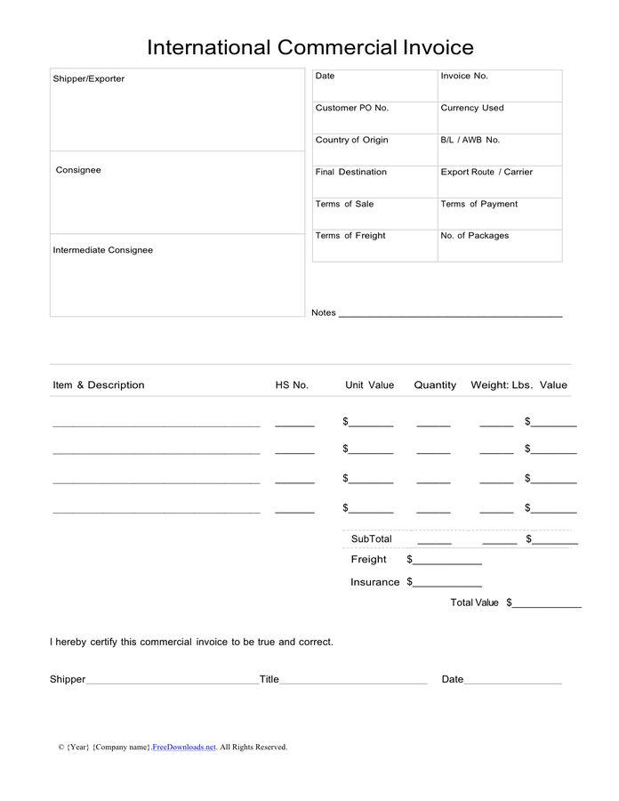 Download International Commercial Invoice Template Word | rabitah.net