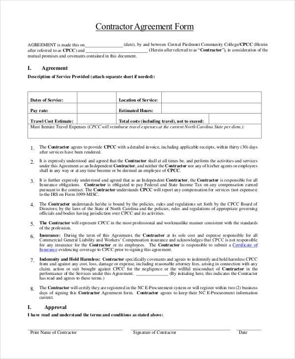 Sample Contractor Agreement Form - 9+ Free Documents in Word, PDF