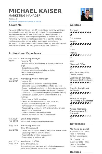 Marketing Manager Resume samples - VisualCV resume samples database