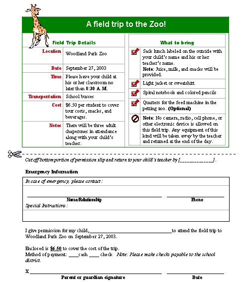 Field Trip Permission Slip Form Template | Printable Medical Forms ...