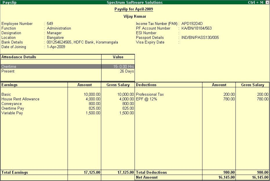 "Payroll Pay Slip Report "" l @ Tally.ERP 9 : www.TallyERP9Book.Com"