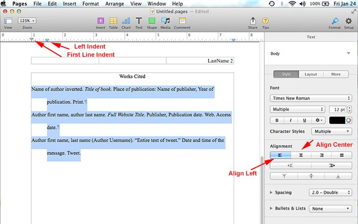 How To Do MLA Format using Pages on Mac? - MLA Format
