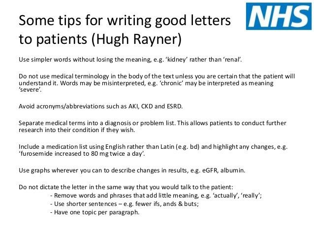 Writing letters to patients and copying GP in