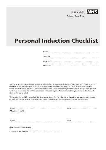 Induction Checklist Template. New Employee Induction Checklist ...