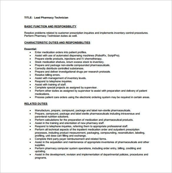 pharmacy technician job description word format free download. lab ...