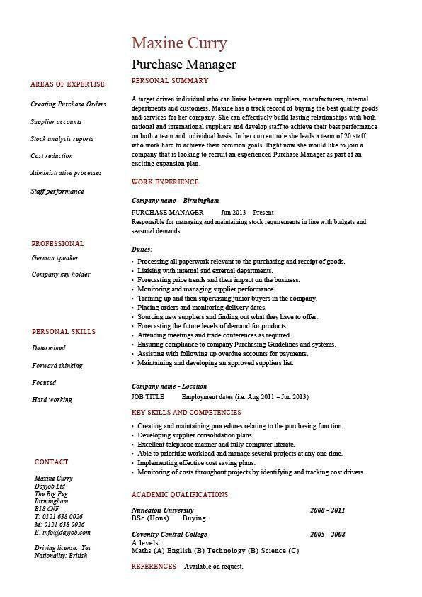 Purchase manager resume, job description, samples, examples ...