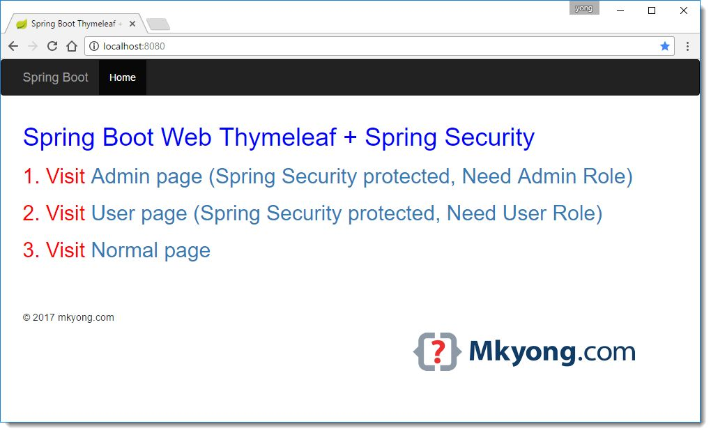 Spring Boot + Spring Security + Thymeleaf example