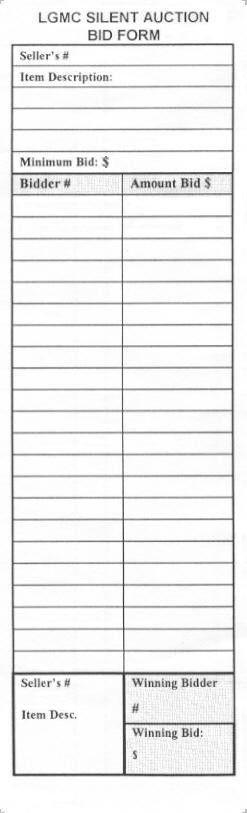 silent auction bid sheet template | Printable Silent Auction Bid ...