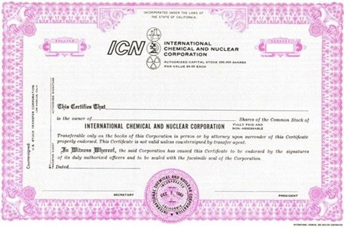 International Chemical and Nuclear Specimen Stock Certificate
