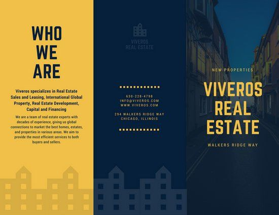 Dark Blue and Yellow Houses Real Estate Tri-fold Brochure ...