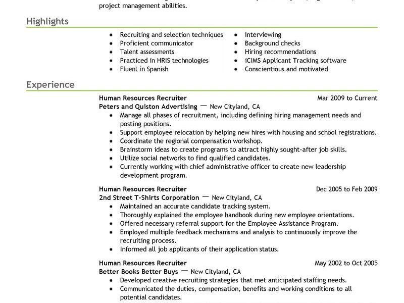Human Resource Resume Bullets. hr recruiter free resume samples ...