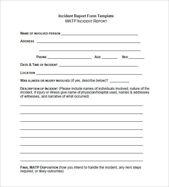 Incident Report Template | peerpex