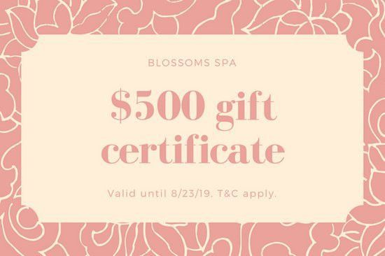 Pink and Cream Massage Gift Certificate - Templates by Canva