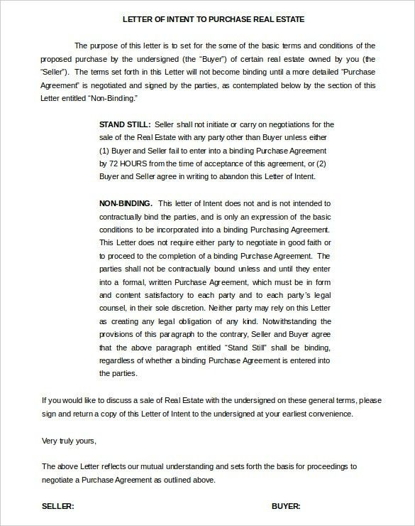 10+ Real Estate Letter Of Intent Templates – Free Sample, Example ...