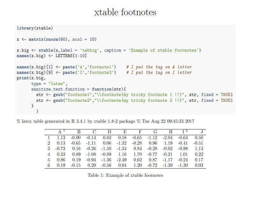 r - Show multiple footnotes in xtable - Stack Overflow