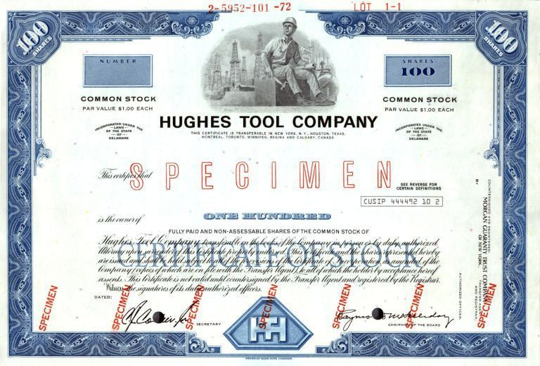 Hughes Tool Company IPO Certificate (Howard Hughes, Jr., sold ...