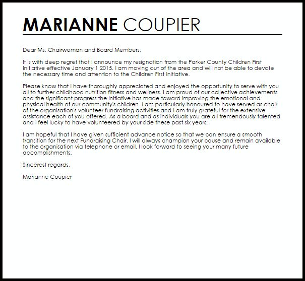 Board Resignation Letter | Resignation Letters | LiveCareer