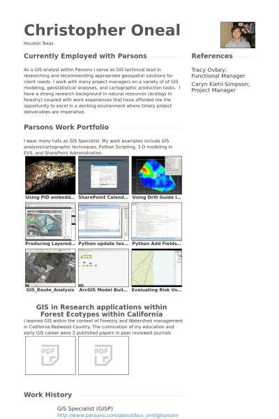 Gis Specialist Resume samples - VisualCV resume samples database