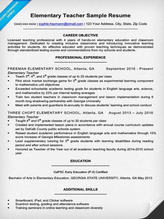 Elementary Teacher Resume Sample & Writing Tips | Resume Companion
