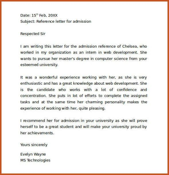 reference letter example | sop example