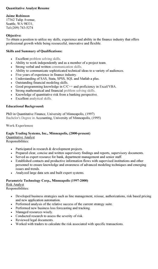 Resume Examples Templates: Quantitative Analyst Resume Employment ...