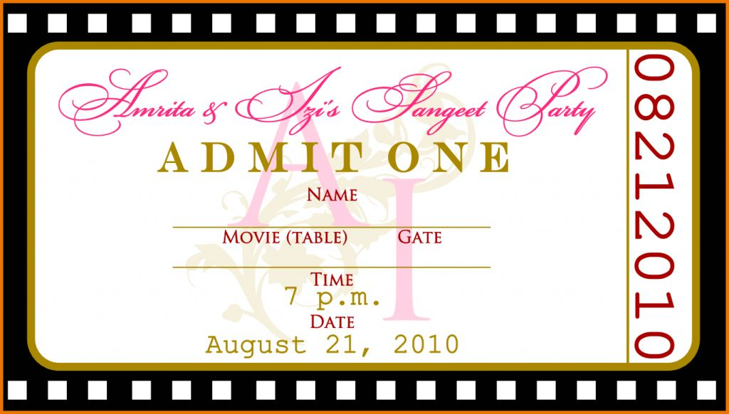 Template For Tickets Auto Sales Contract Printable Movie Ticket ...