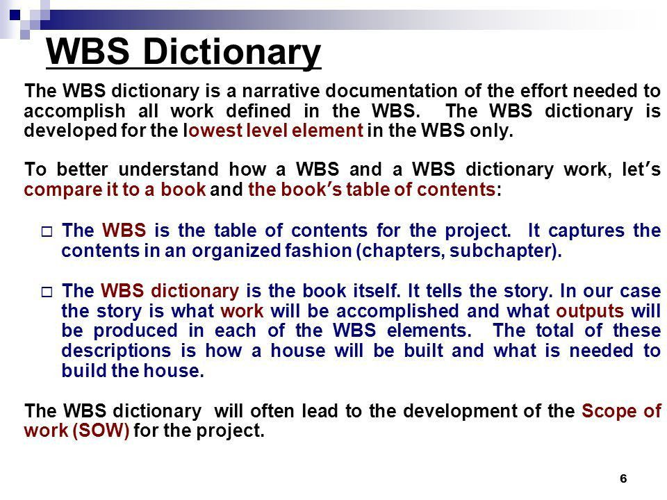 WBS-Construction of House (Example) WBS Dictionary - ppt video ...