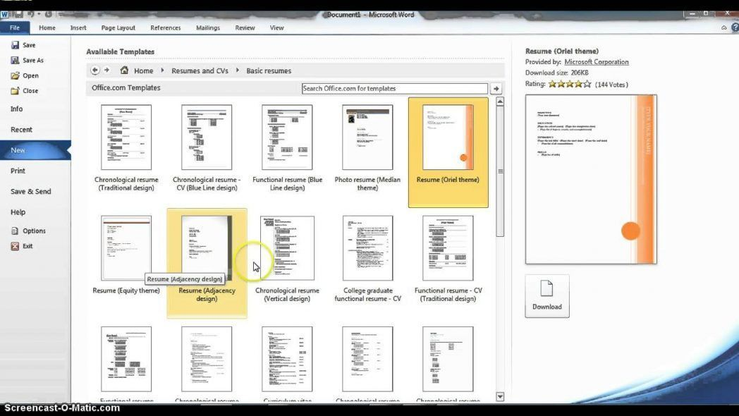Using Microsoft Word Resume Templates Youtube Outlook Maxresde ...