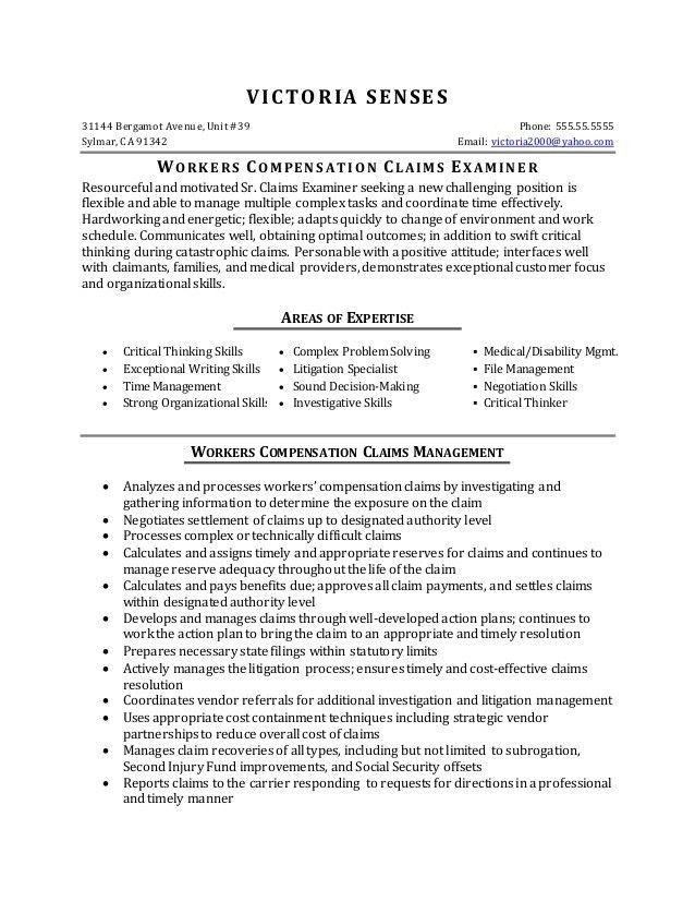 Resume Sample - Workers Compensation Claims