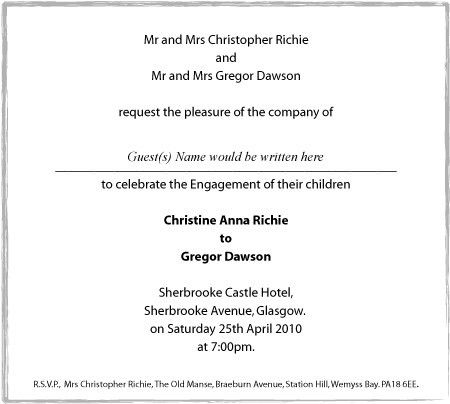 INVITATION FORMAT FOR ENGAGEMENT   Invite