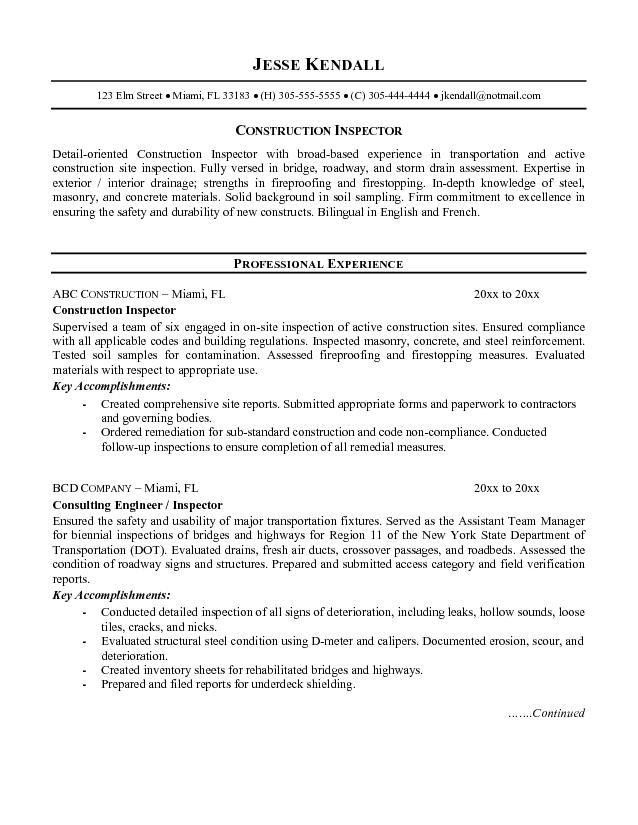 Charming Cover Letter » Cover Letter For Quality Control   Cover Letter . Pertaining To Construction Inspector Resume