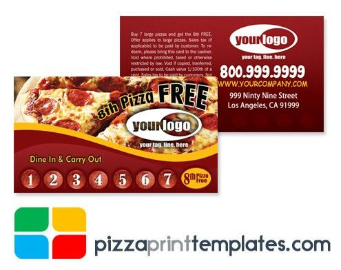 Pizza Punch Cards - Design and Print Templates 2.5 x 3