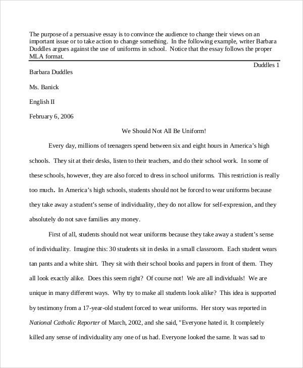 Persuasive Essay Example - 8+ Samples in Word, PDF