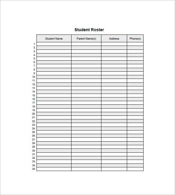 Class List Template -10 + Free Sample, Example, Format Download ...