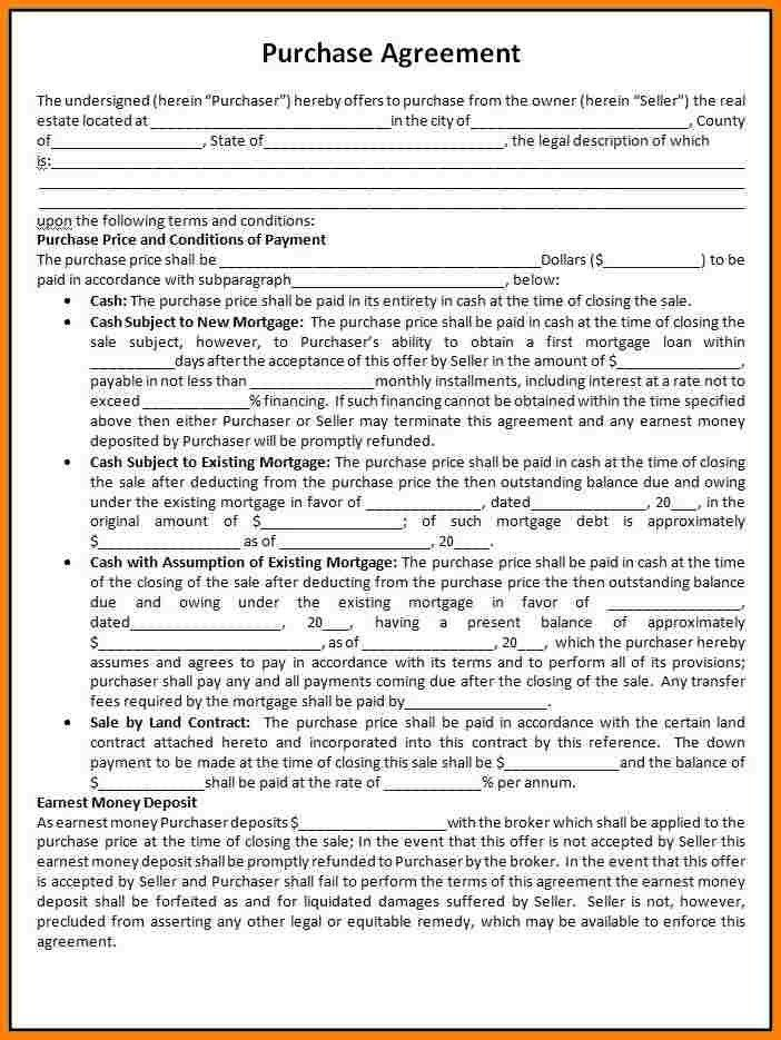 Free Printable Real Estate Purchase Agreement | shareitdownloadpc