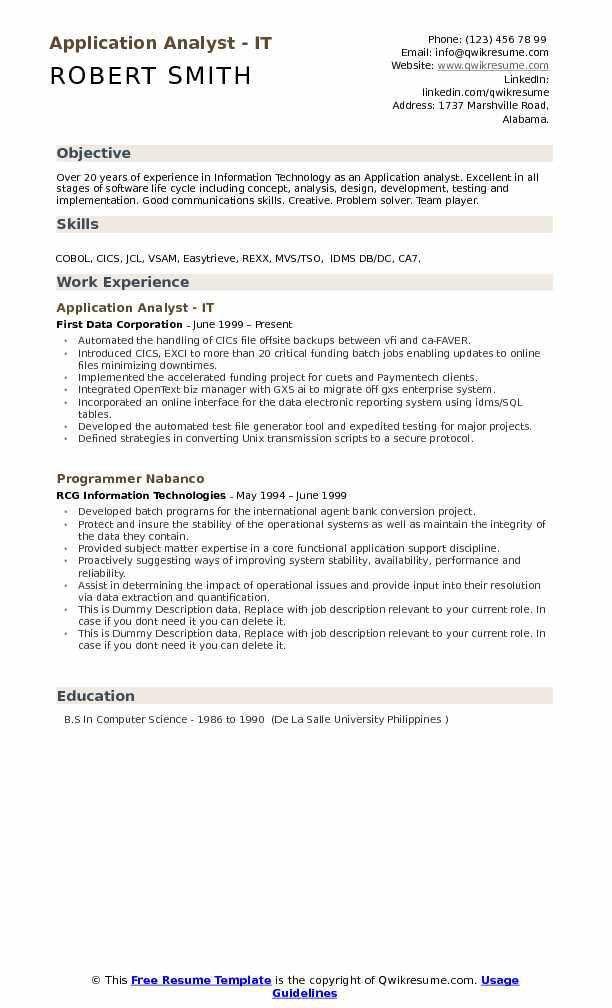 Application Analyst Resume Samples | QwikResume