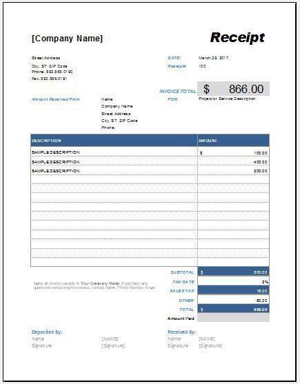 Advance Payment Receipt Template for Excel | Word & Excel Templates