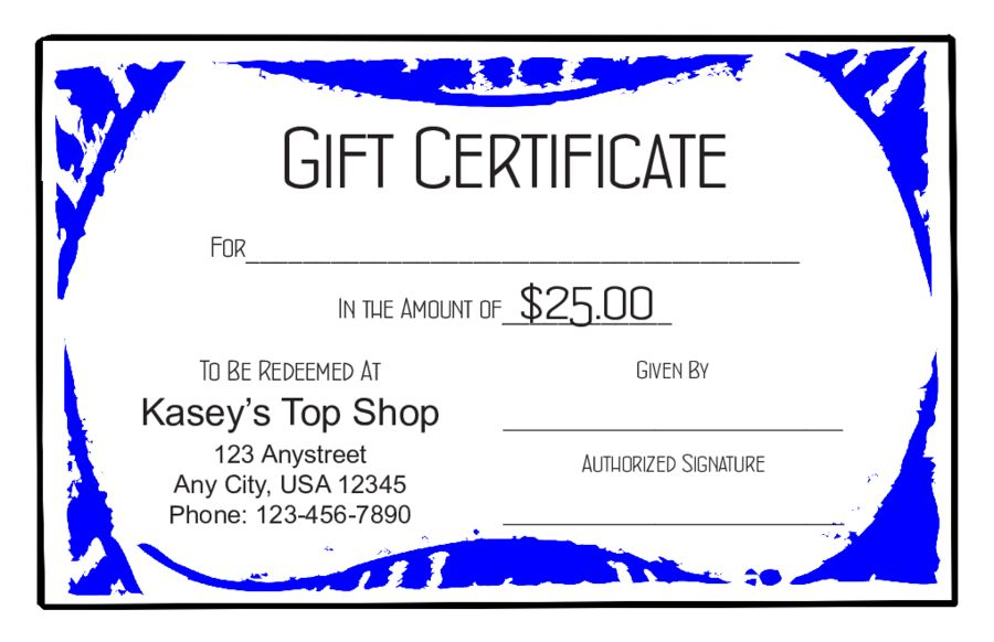 Customizable Gift Certificate Template Free