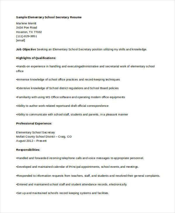 school secretary resume professional secretary templates to