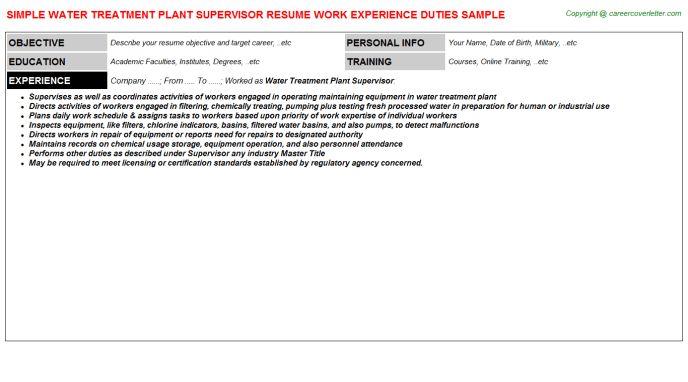 Water Treatment Plant Supervisor Resume Sample