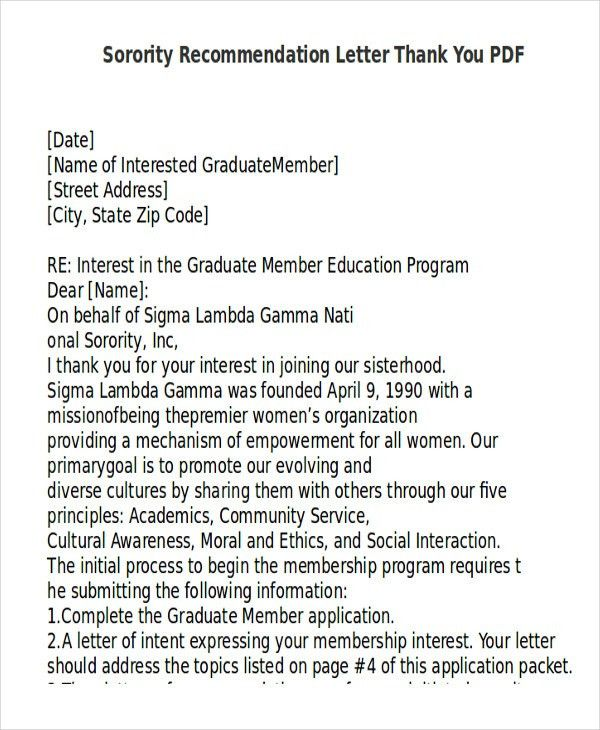 Sample Sorority Recommendation Letter - 6+ Examples in Word, PDF