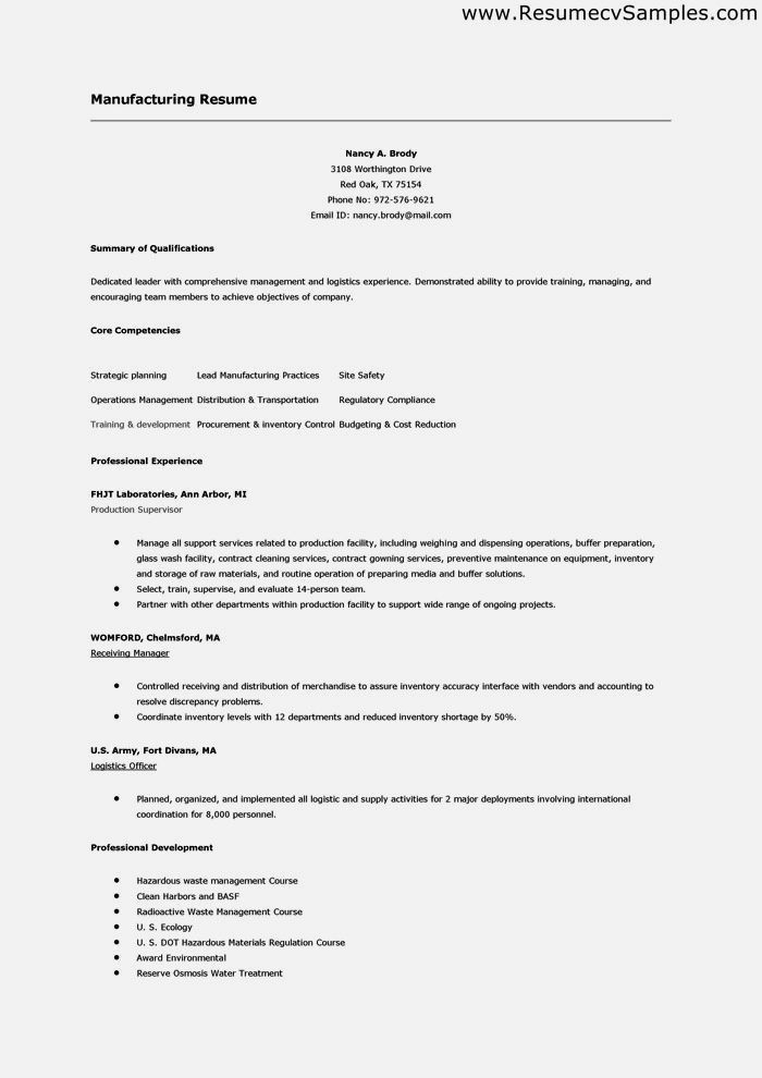 factory resume objectives contegricom - Factory Resume Examples