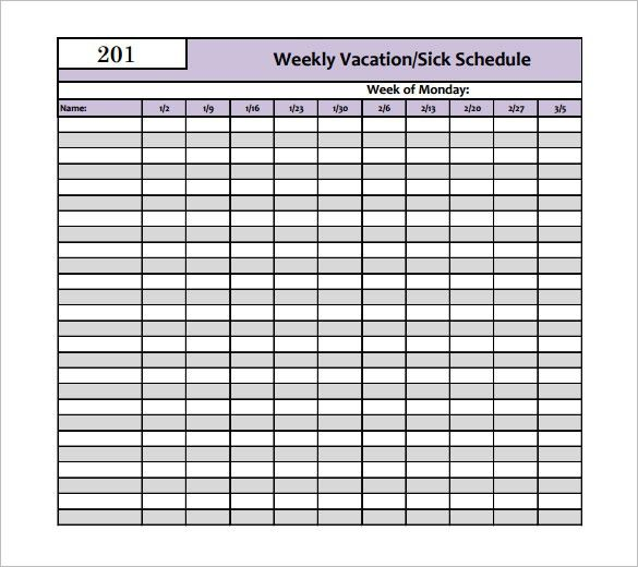Vacation Schedule Template – 7+ Free Word, Excel, PDF Format ...