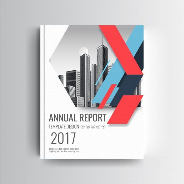 A Modern Annual Report Cover Template With Blue and Red Geometric ...