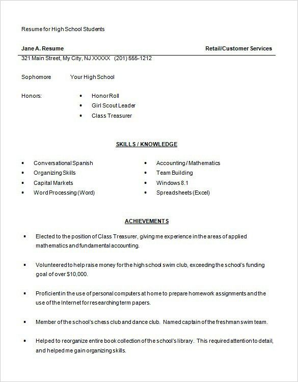 10 Resume Objective For A High School Student Resume student ...