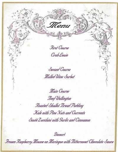 Christmas Dinner Menu - Storybook Woods