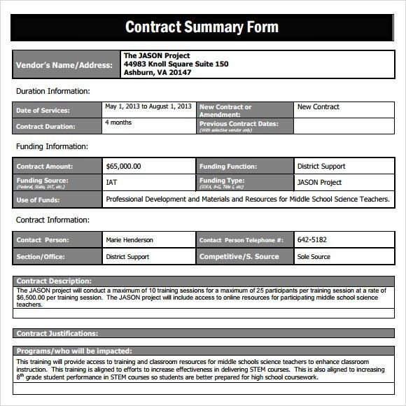 Sample Contract Summary Template - 10+ Free Documents in PDF