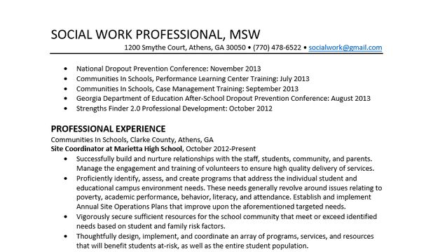 school social worker resumes