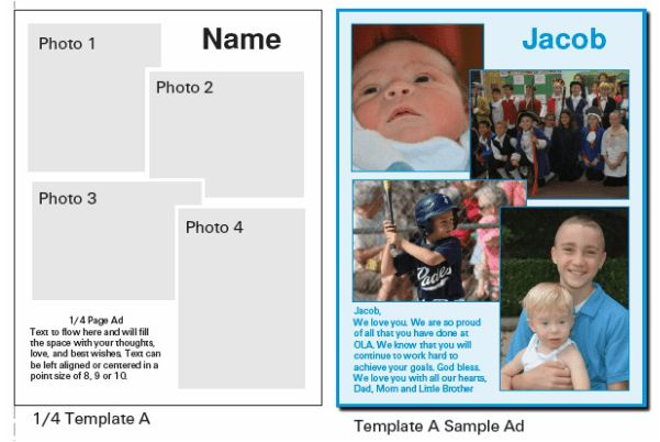 Ad Template Choices and Samples - OLA Yearbook
